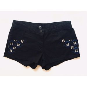 H&M Black Aztec Embroidered Shorts